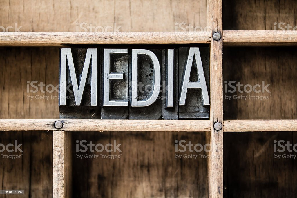 Media Letterpress Type in Drawer stock photo