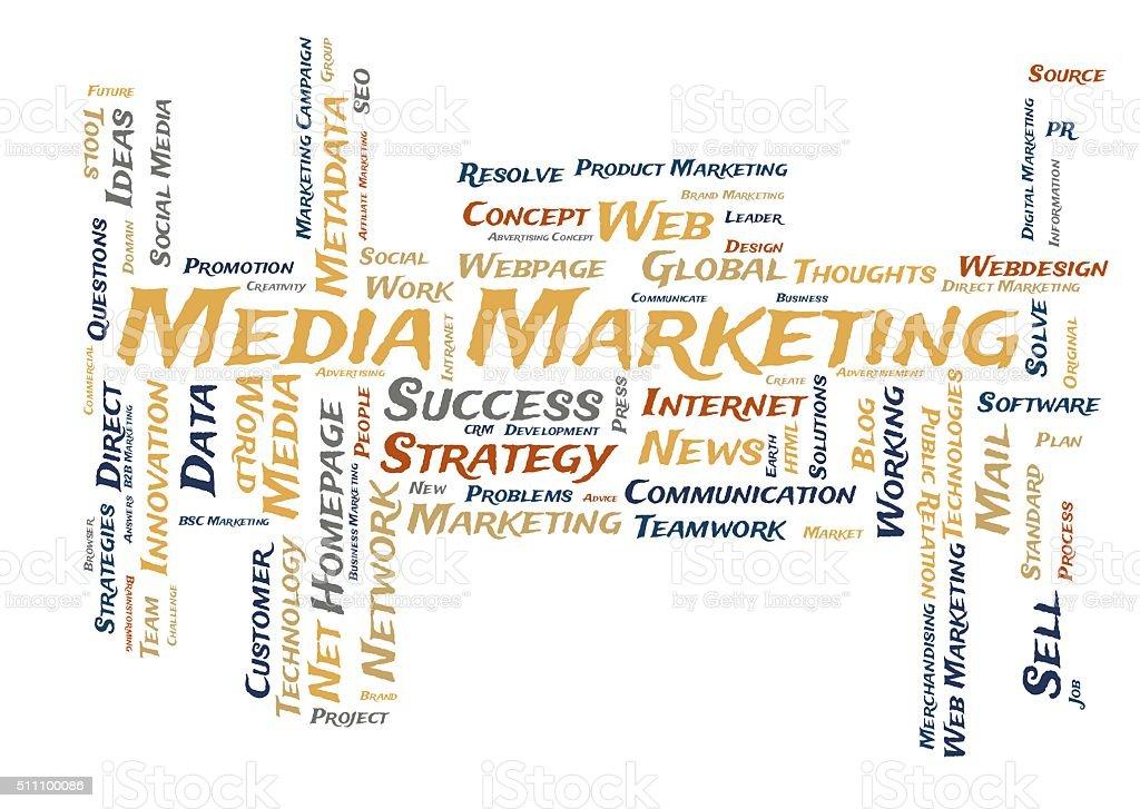 Media Marketing word cloud stock photo