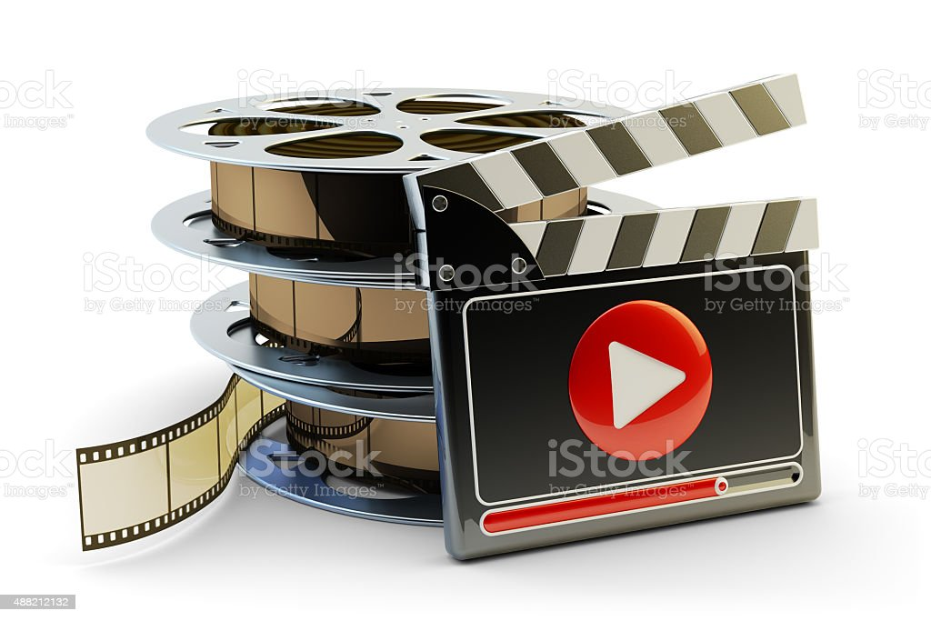 Media player and video clips production concept stock photo