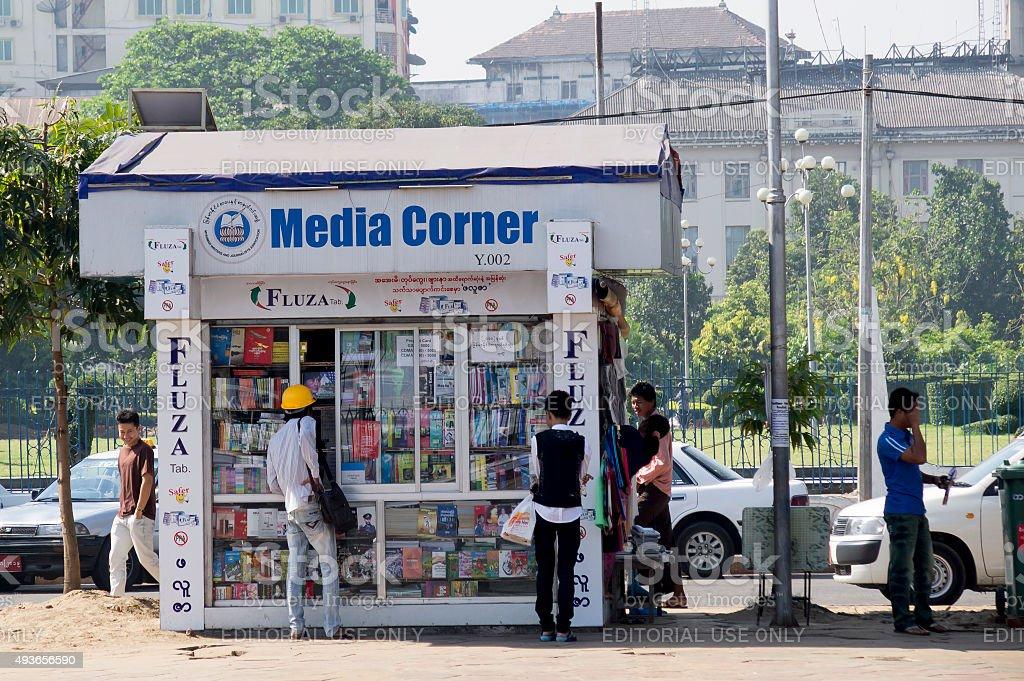 Media stall in Rangoon Myanmar. stock photo