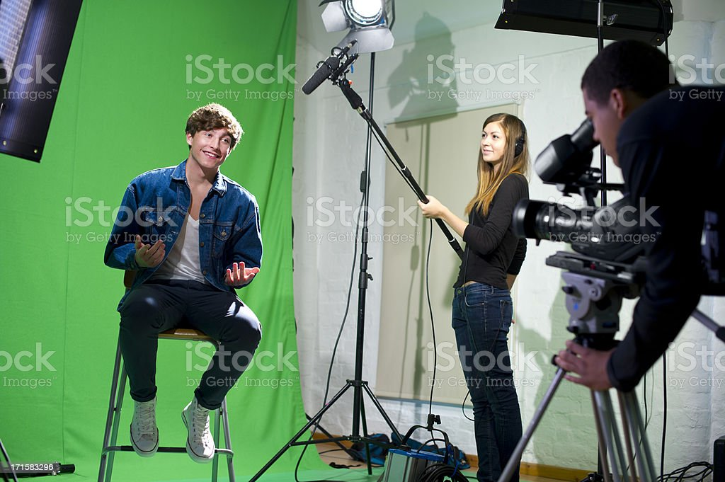 media student being interviewed stock photo