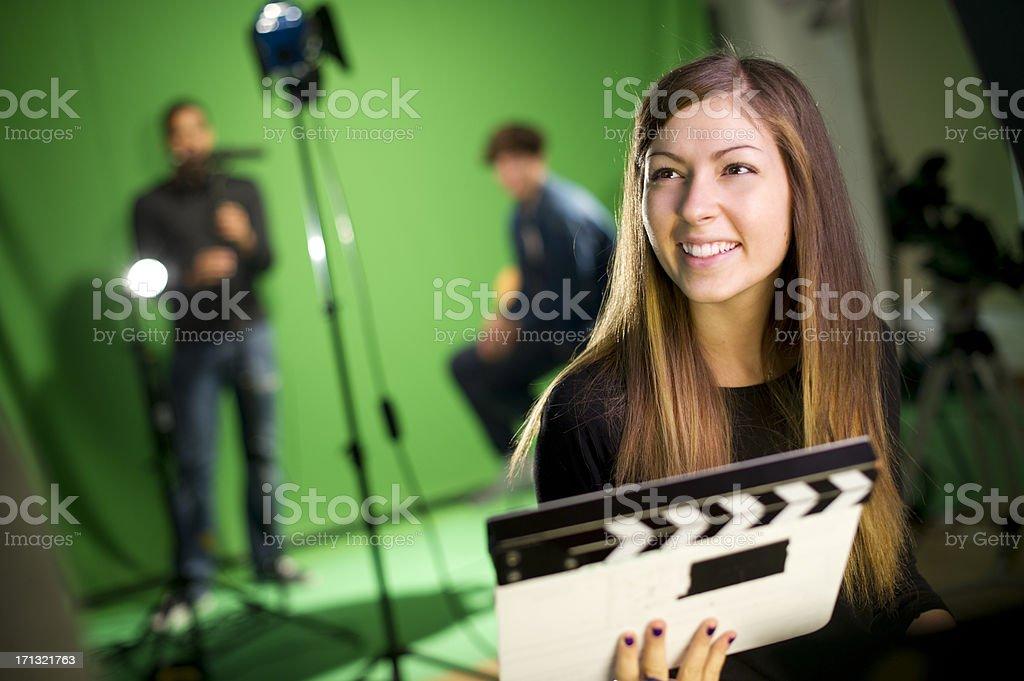 media student in the studio stock photo