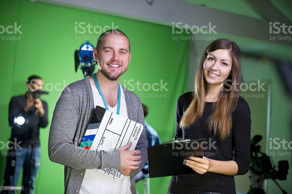 media student with teacher in the studio royalty-free stock photo