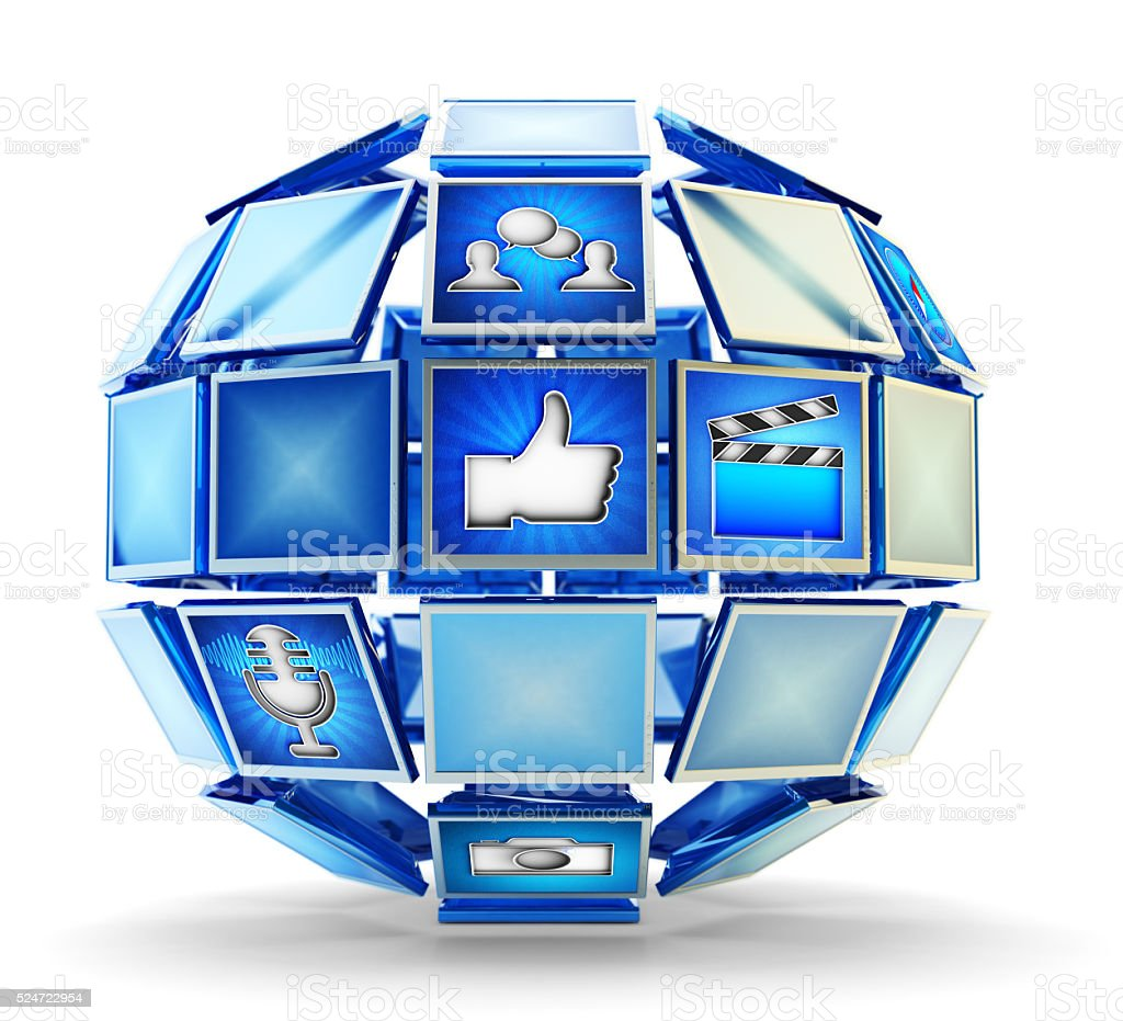 Media technology, internet online communication and telecommunication network concept stock photo