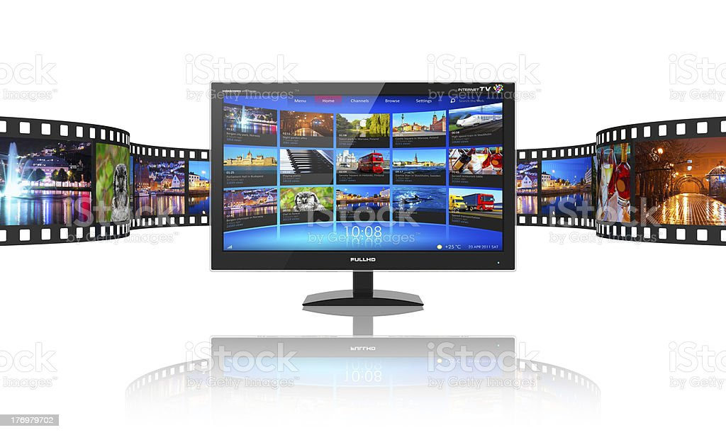 Media telecommunications and streaming video concept stock photo