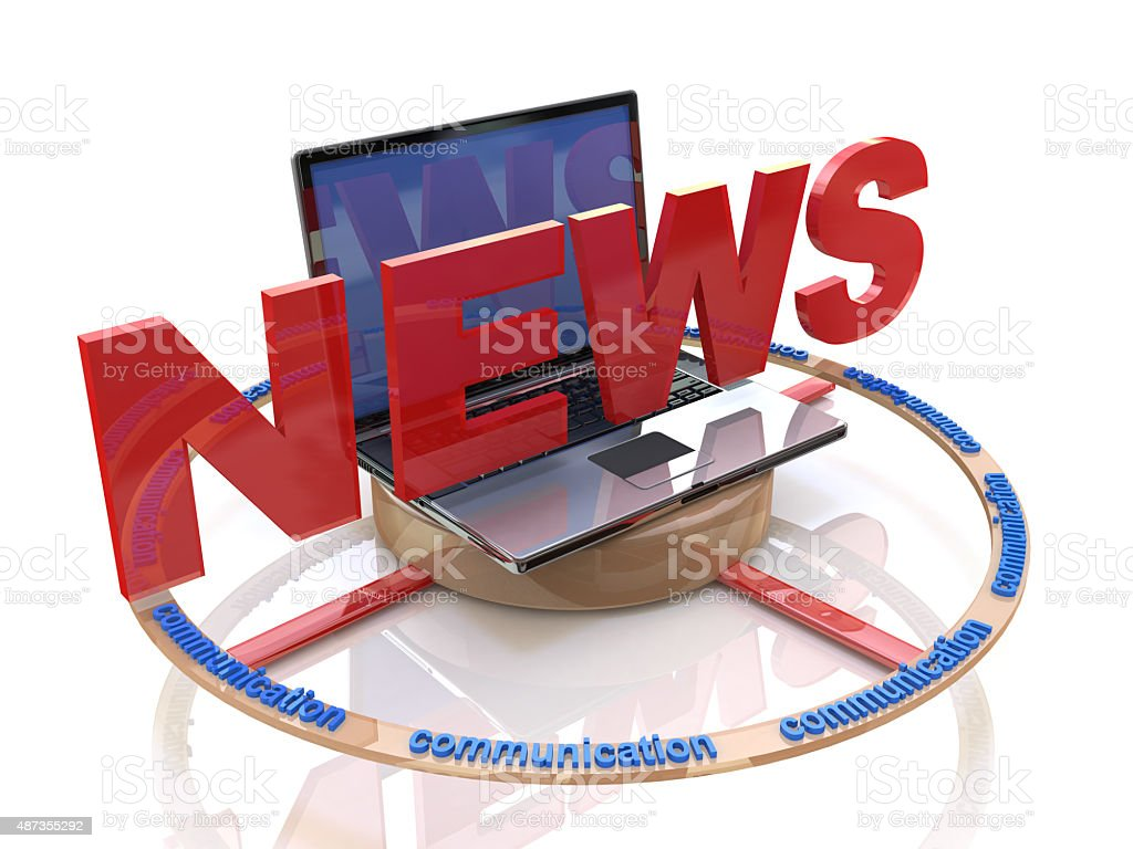 Media. Text NEWS. Laptop with the word news. Online news stock photo