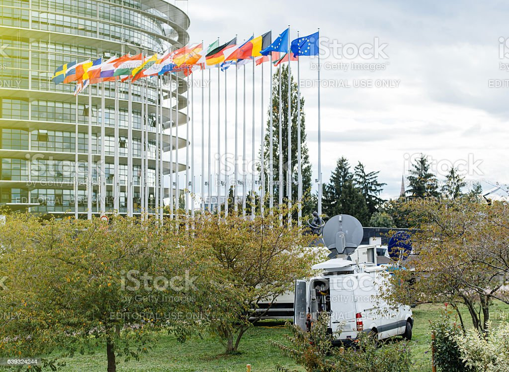 Media TV Truk reporting live from European Parliament stock photo