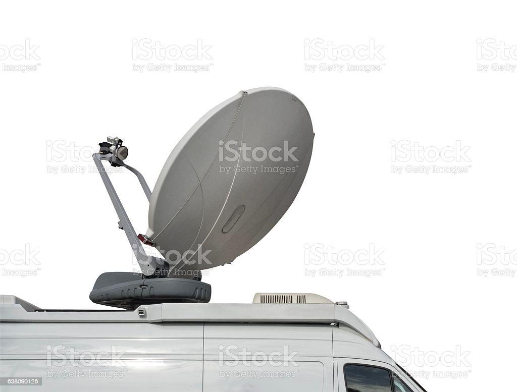 Media Van with Satellie Dish Isolated on White background stock photo