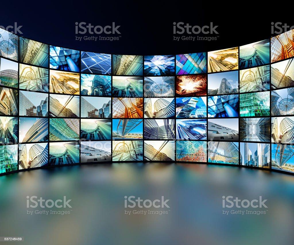 media wall stock photo