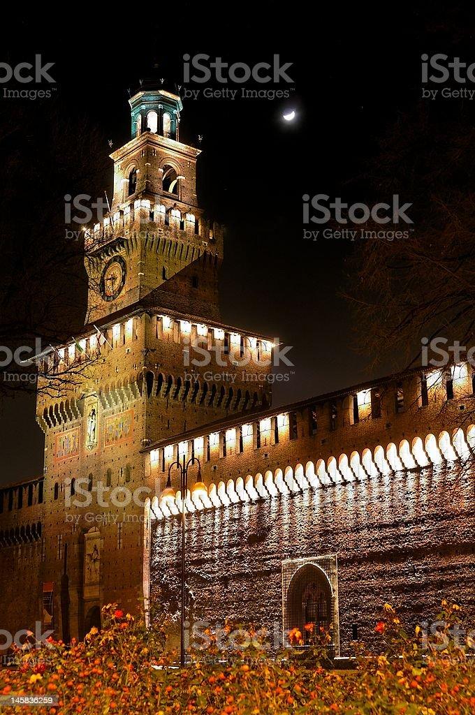 Mediaeval castle at night - Castello sforzesco stock photo