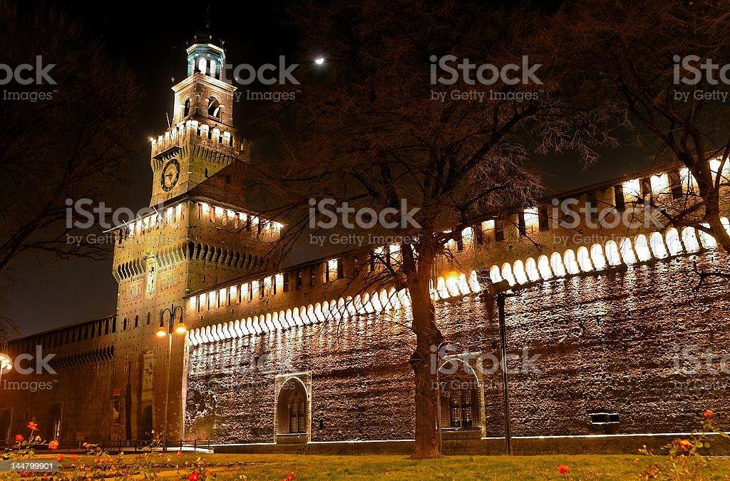 mediaeval castle at night stock photo