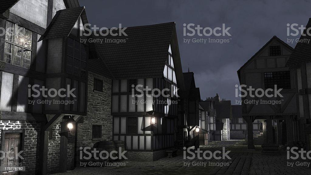 Mediaeval Town Street at Night royalty-free stock photo