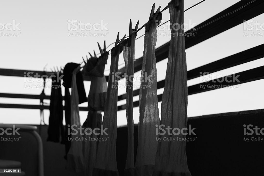 Medias tendidas en terraza stock photo