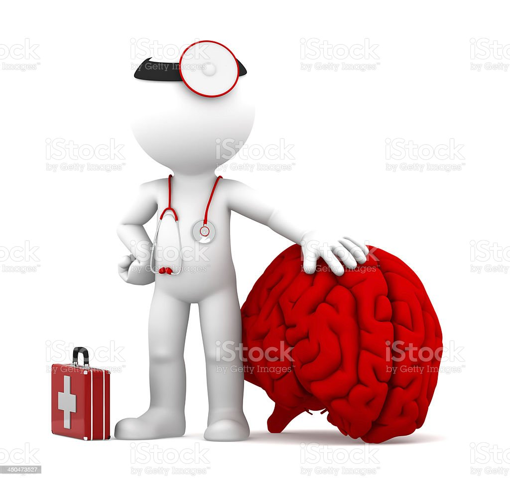 Medic with big red brain royalty-free stock photo