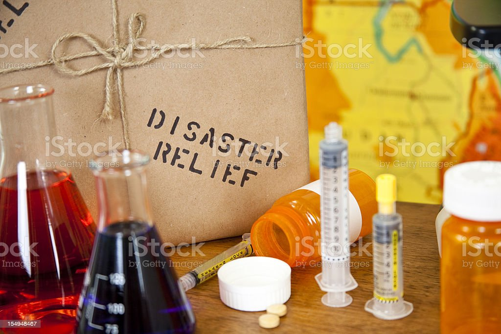 Medical aid, research and disaster relief stock photo