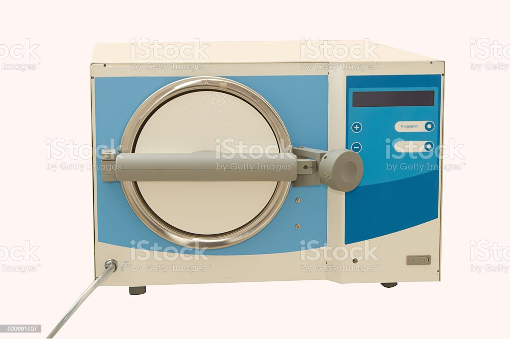 Medical autoclave for sterilising surgical and other instruments stock photo