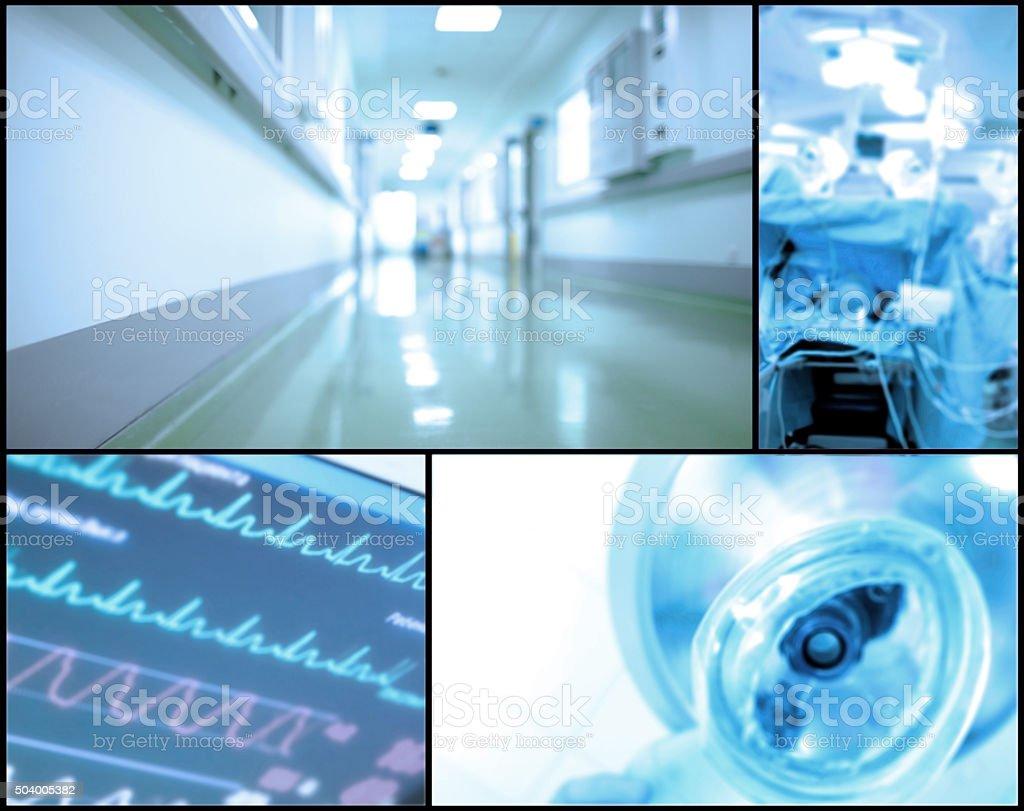 Medical background set of blurry photos stock photo