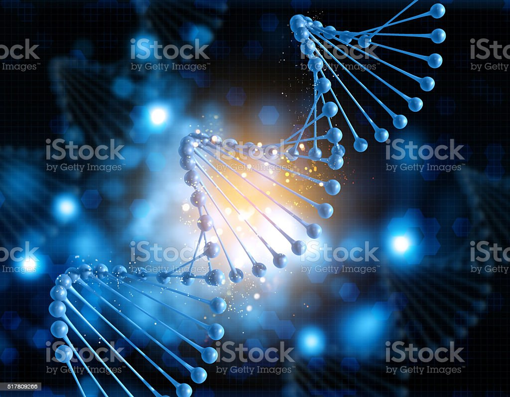 3D medical background with DNA strand stock photo