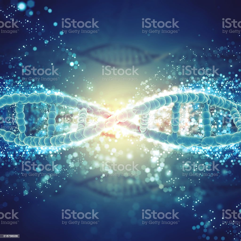 3D medical background with DNA strands stock photo