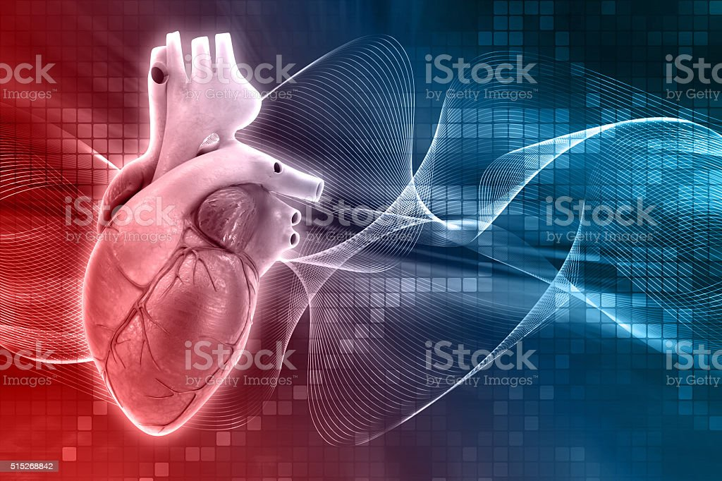 3D medical background with heart stock photo