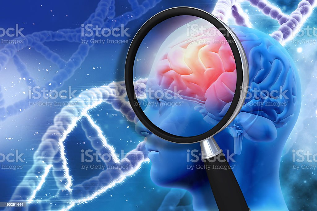 3D medical background with magnifying glass examining brain stock photo