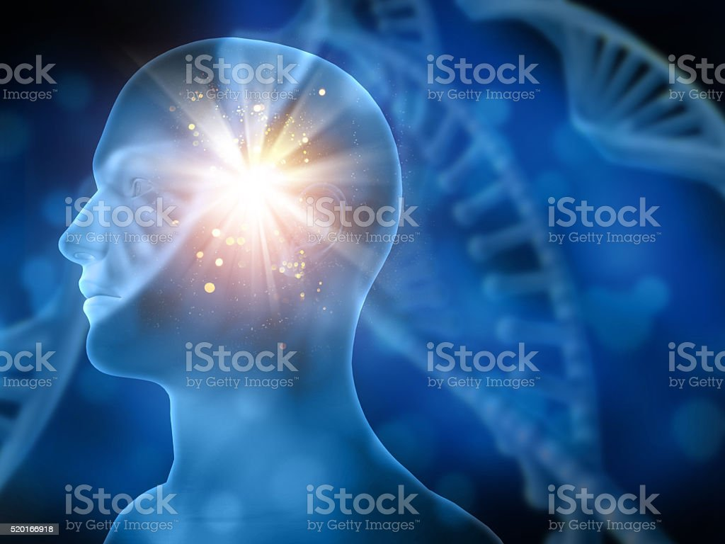 DNA medical background with male head stock photo