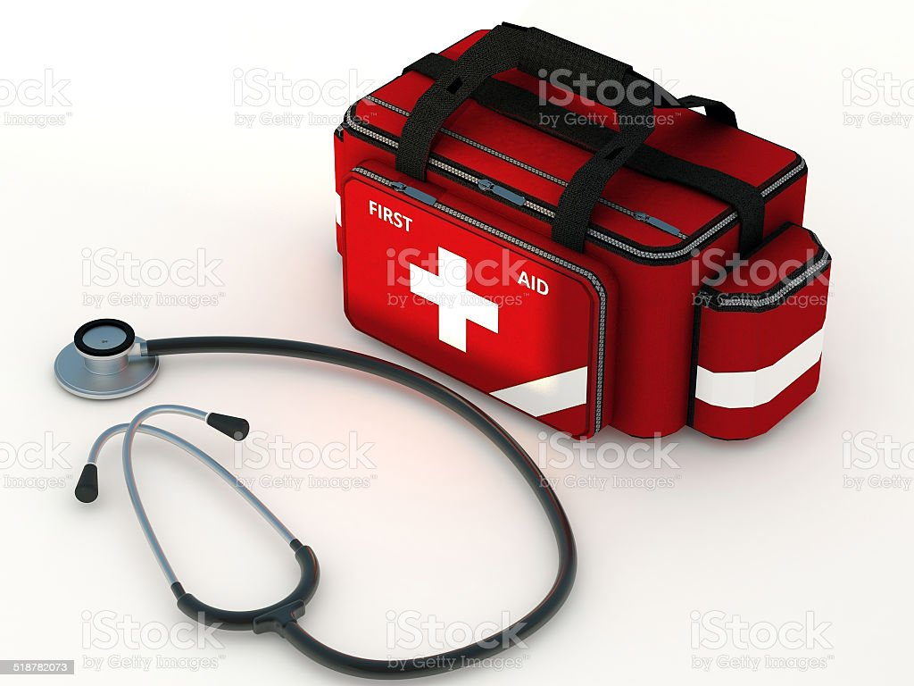 Medical Bag and Stethoscope stock photo