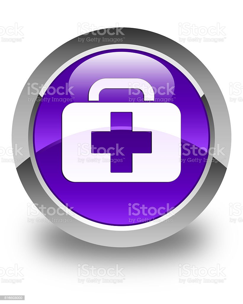 Medical bag icon glossy purple round button stock photo