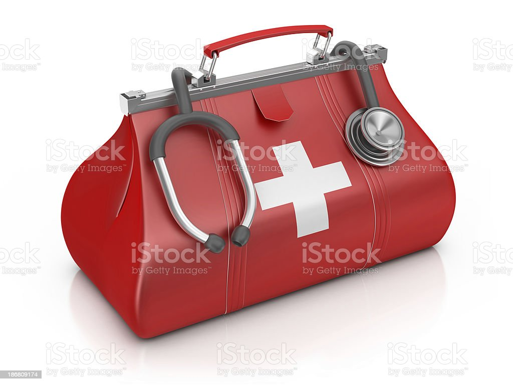 Medical Bag with Stethoscope stock photo