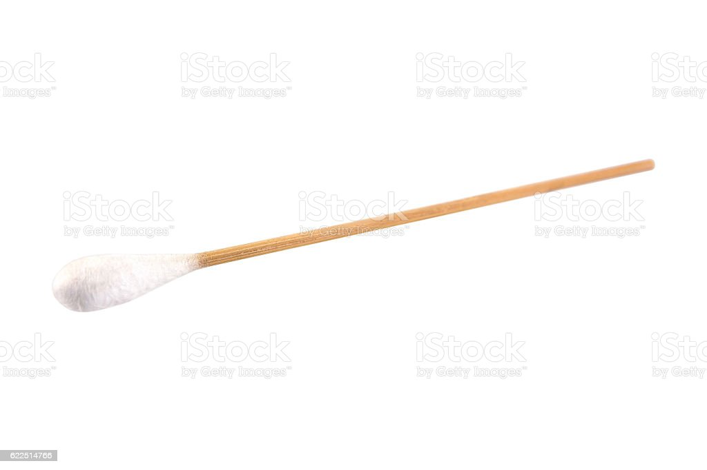 Medical bamboo cotton swabs on sticks isolated on white stock photo