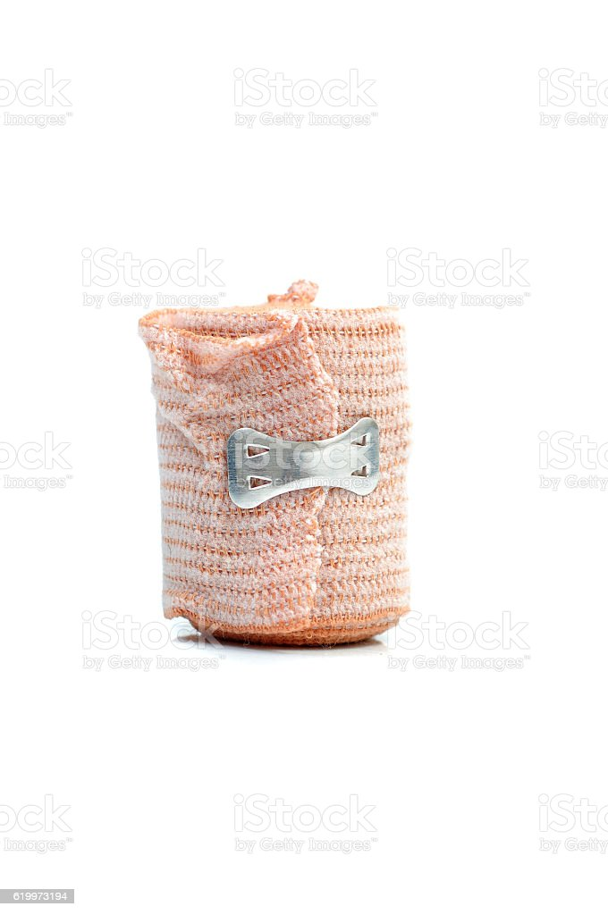 Medical bandage roll on white background stock photo
