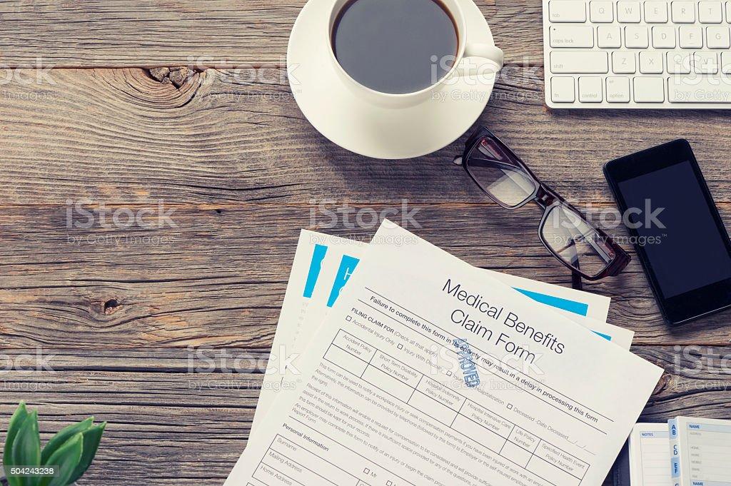 Medical benefits claim form. stock photo
