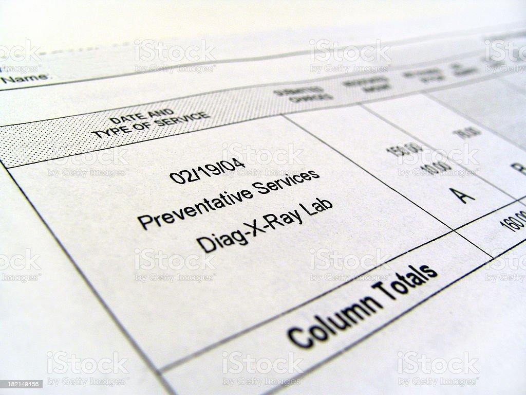 Medical Bill - Preventative royalty-free stock photo