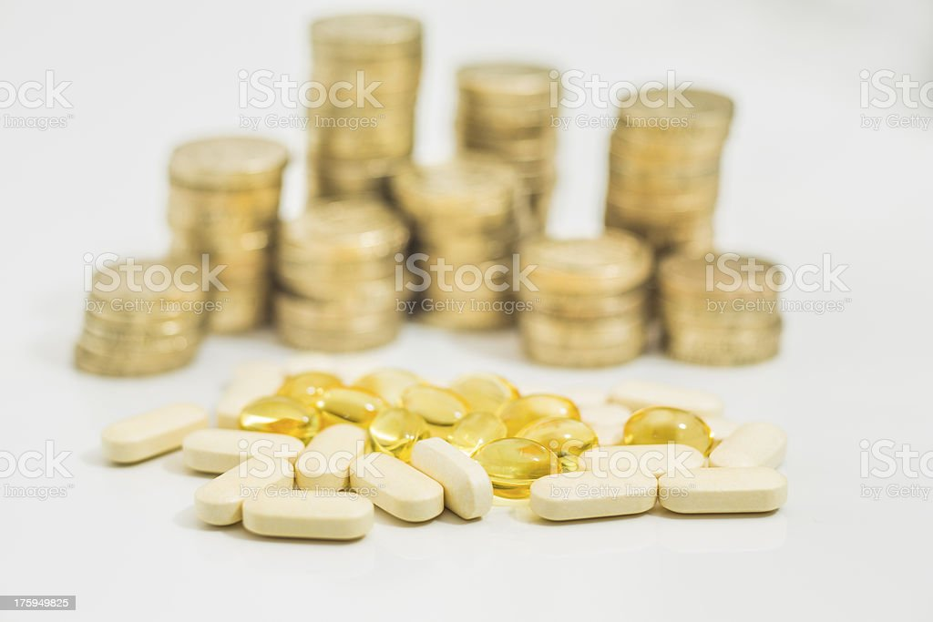 Medical Bills money for pills and vitamins royalty-free stock photo