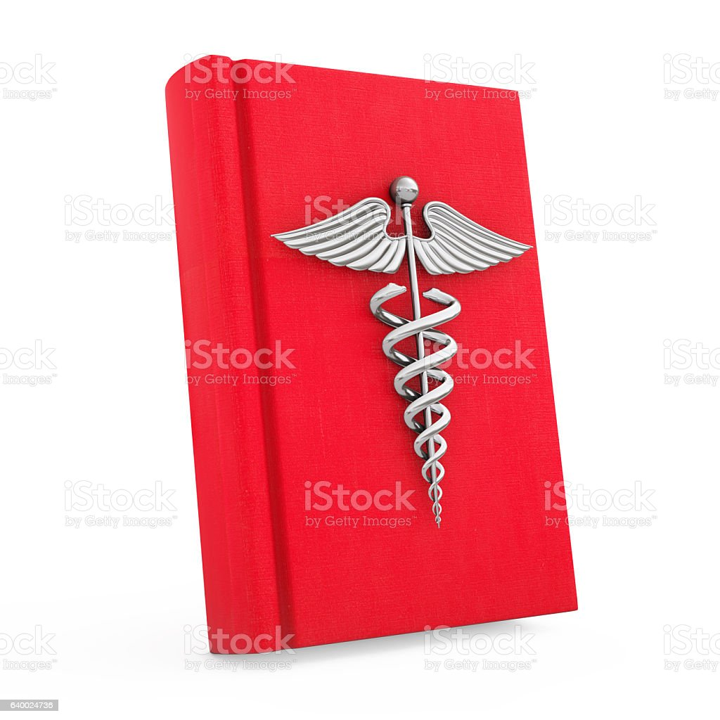 Medical Book with Silver Caduceus Symbol. 3d Rendering stock photo