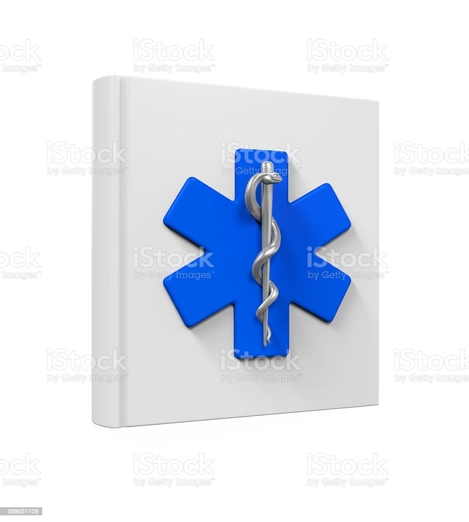 Medical Book with Star of Life Symbol stock photo