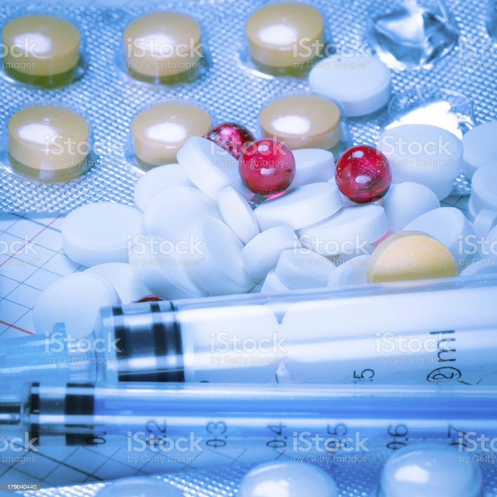 medical bottle and syringe royalty-free stock photo