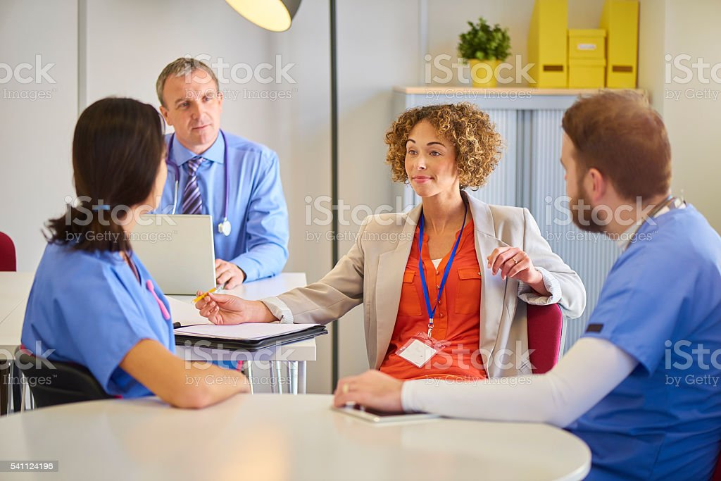 medical business discussion stock photo