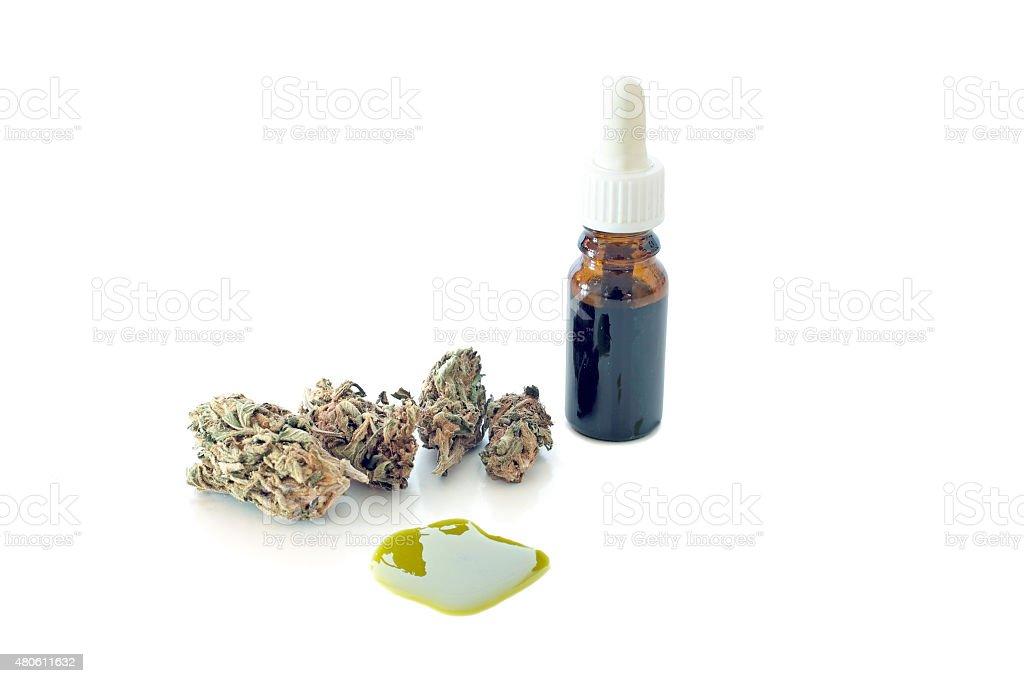 Medical Cannabis ( Marijuana ) oil ready for consumption stock photo