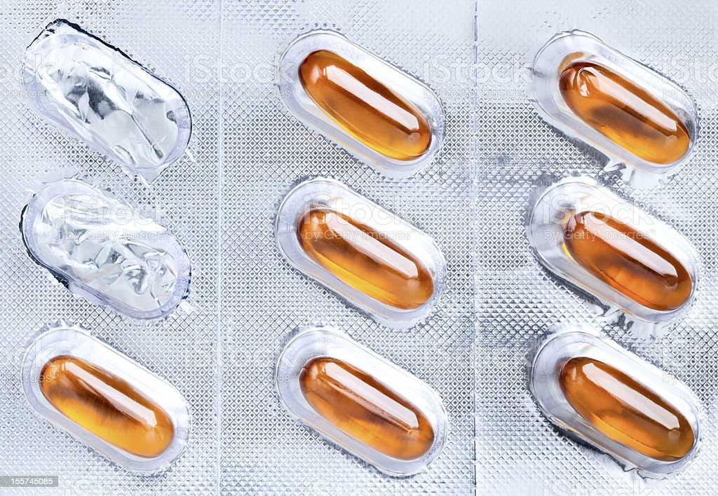 Medical capsules packaged stock photo