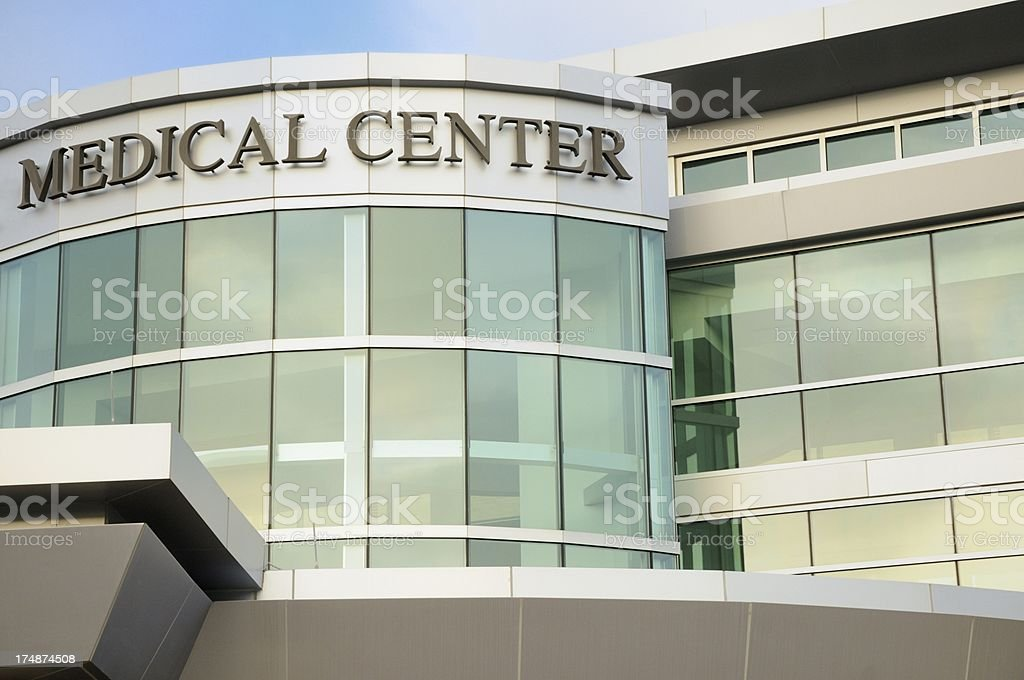 Medical center with sign stock photo