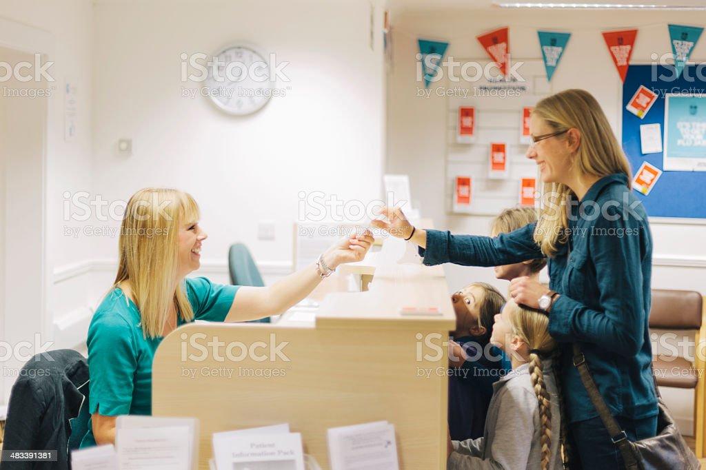 Medical centre reception stock photo
