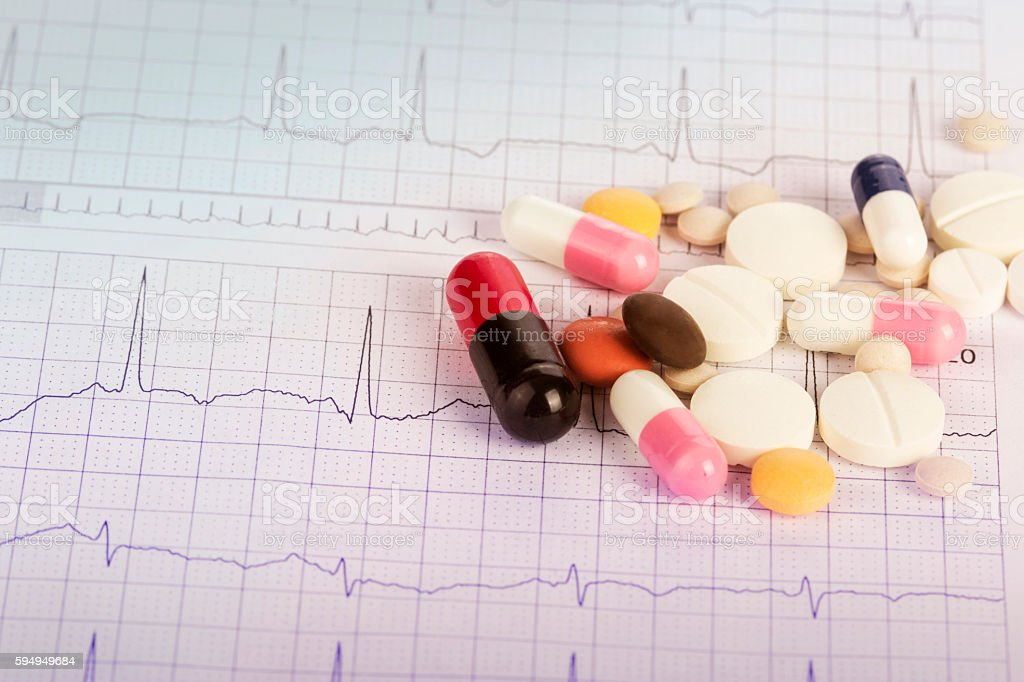 Medical chart and pills stock photo