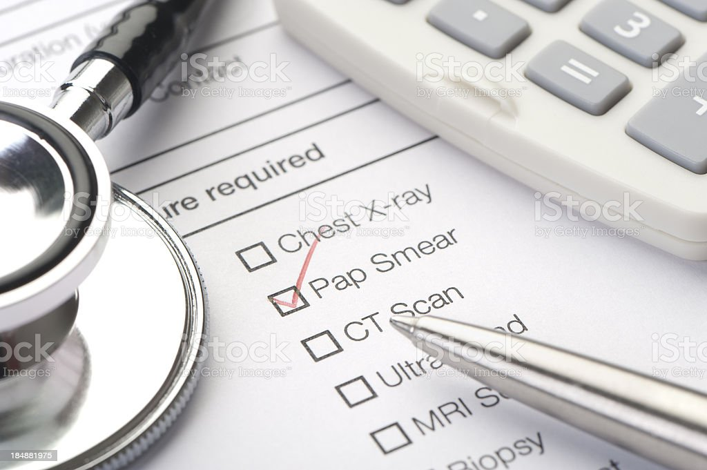 Medical chart, pap smear ticked stock photo