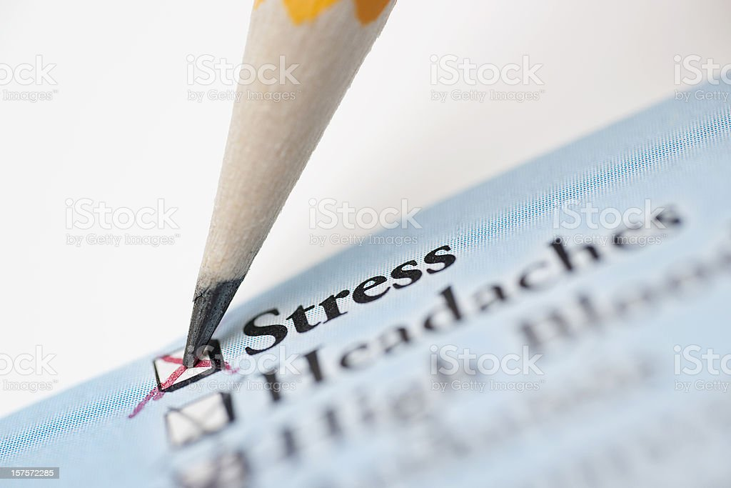 Medical Check List Showing Stress stock photo
