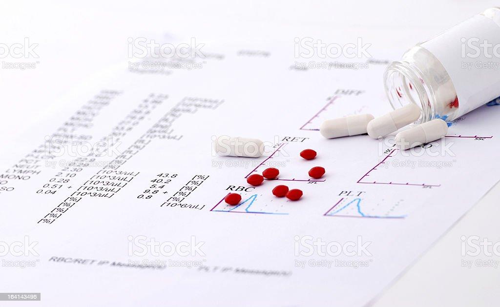 Medical checkup  report and pills stock photo