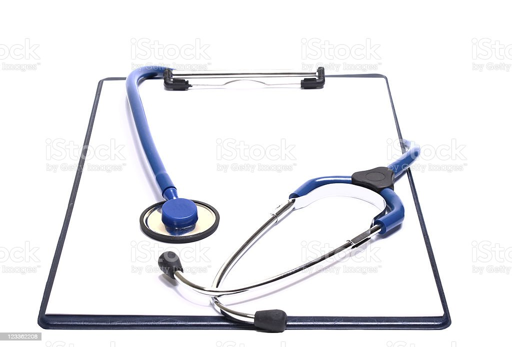 Medical clipboard with stethoscope stock photo