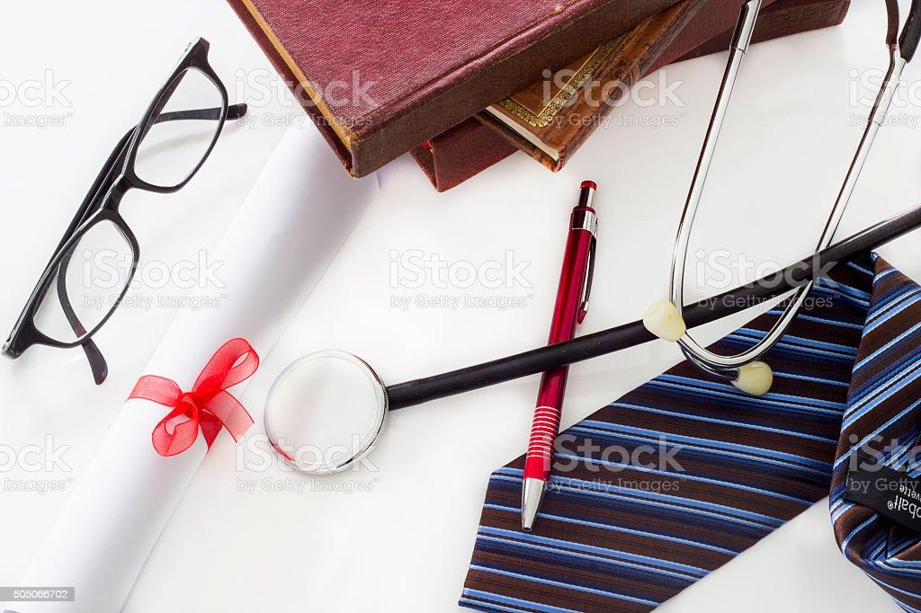 Medical concept, medicine, graduation stethoscope and degree stock photo