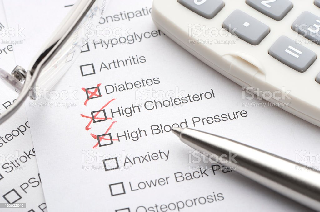 Medical conditions checked on a list royalty-free stock photo