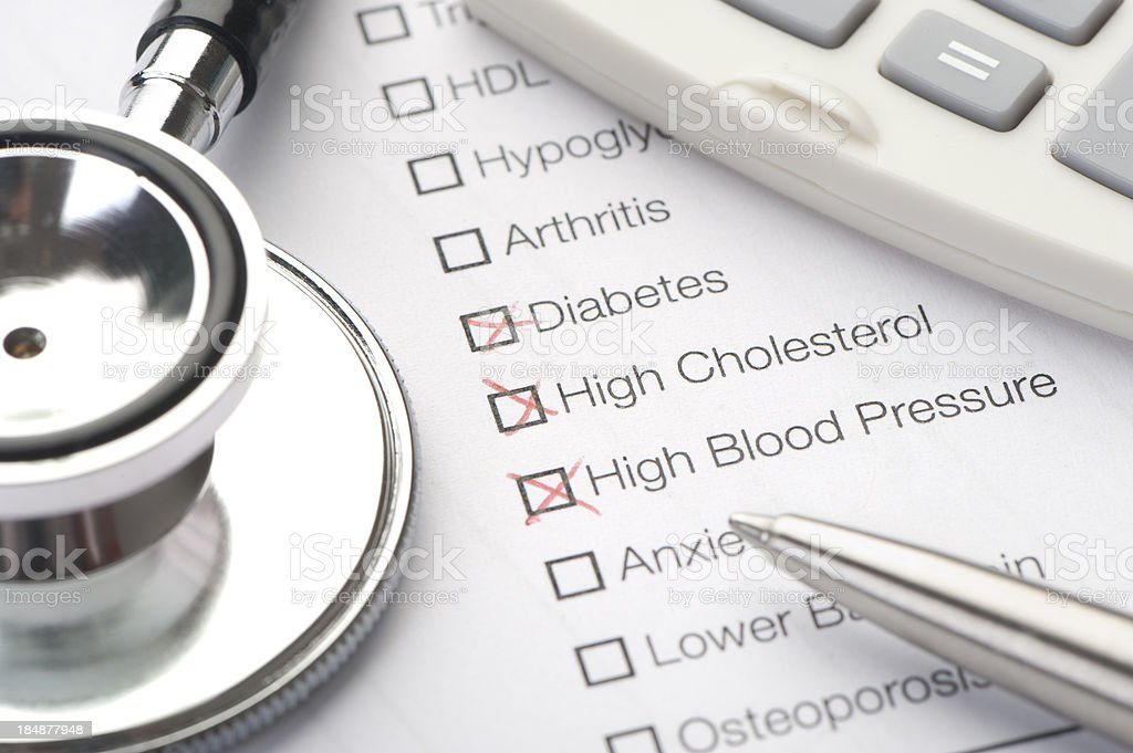 Medical conditions diabetes and cholesterol checked royalty-free stock photo
